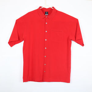 Nike Dri Fit Mens Large Full Button Polo Red Shirt